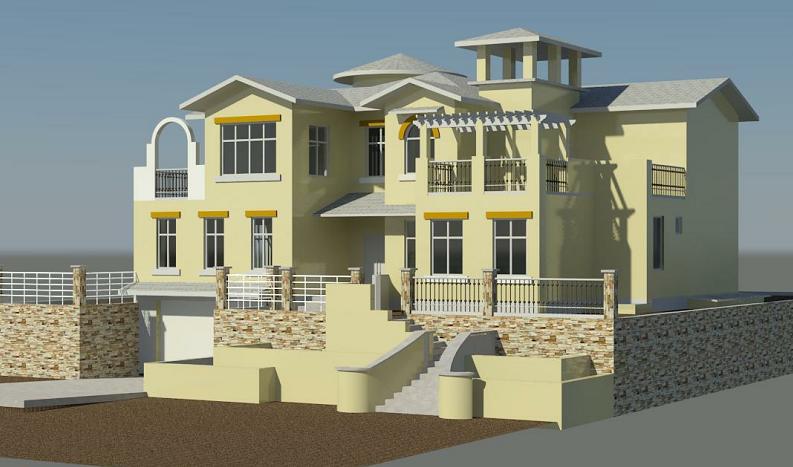 revit 西班牙风格别墅模型+revit施工图