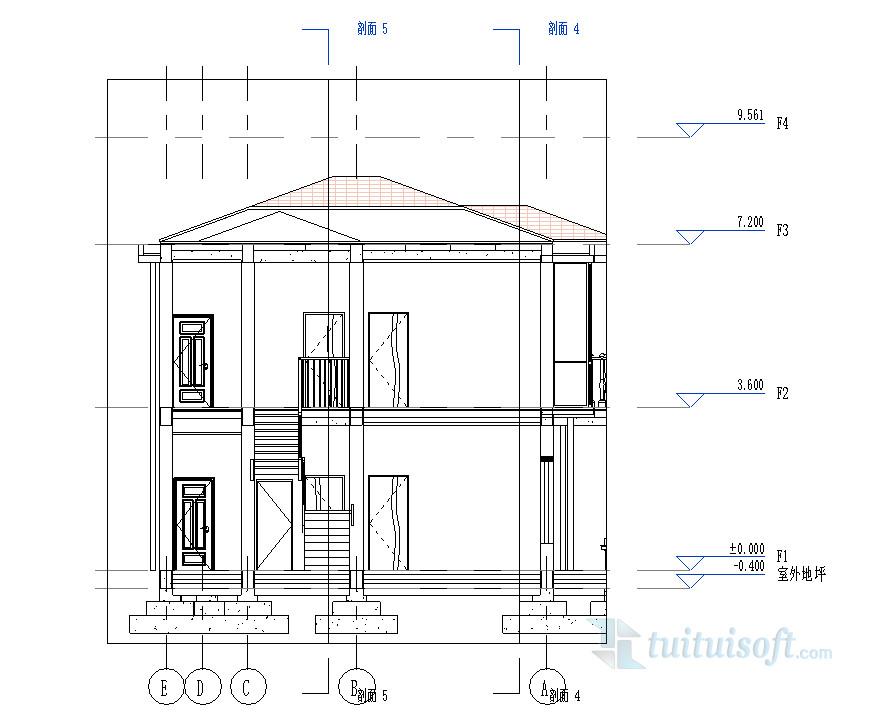 revit小别墅模型带独立基础有组织屋顶排水